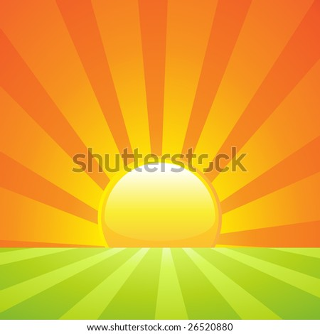 Rising sun on a green landscape background or banner