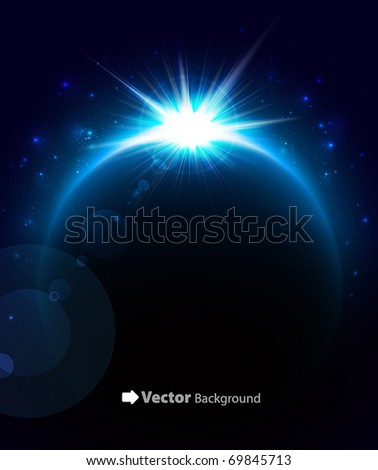 Rising Sun over the planet. Vector space background - stock vector