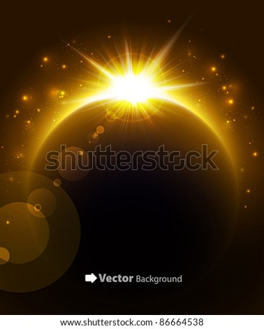 Rising Sun over the planet. Vector space background. - stock vector