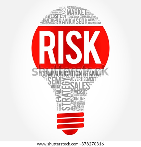 RISK bulb word cloud, business concept - stock vector