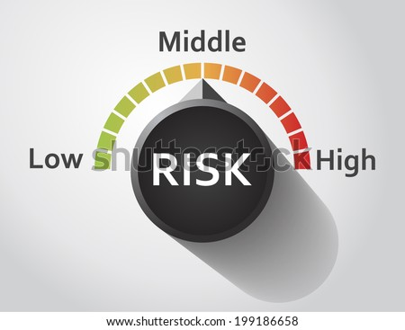 risk button pointing between low high vectores en stock