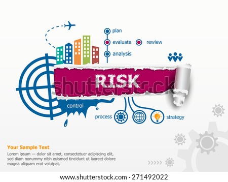 Risk concept and breakthrough paper hole with ragged edges.  - stock vector