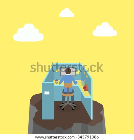 Risk of working or work hard of a employee on the cliff  - stock vector