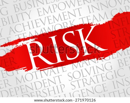 Risk word cloud, business concept