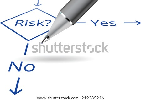 Risk Yes No flow chart concept with ball pen
