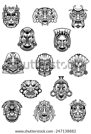 Ritual ceremonial carved masks in traditional african tribal style with different emotion expressions for avatars or historical concept design - stock vector