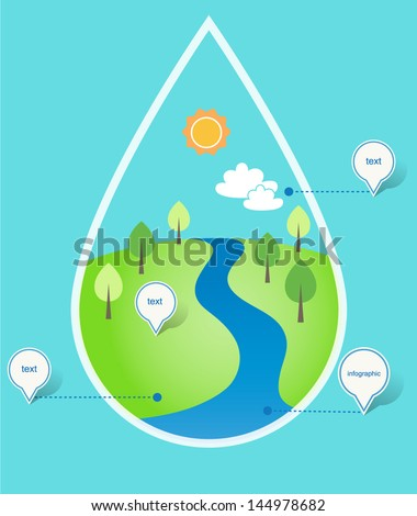 River and Green Hills. Water Concept Infographics. Vector EPS 10 - stock vector