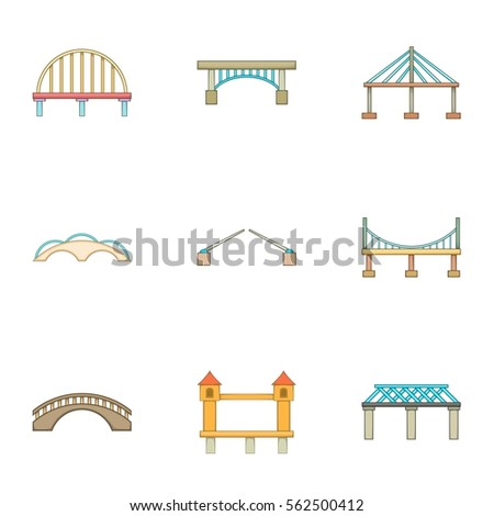 River crossing icons set. Cartoon illustration of 9 river crossing vector icons for web