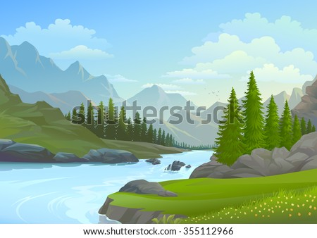 River flowing from the mountains  - stock vector