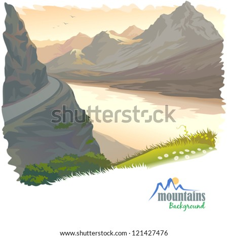 River Ganges Flowing Through Himalayan Mountain - stock vector