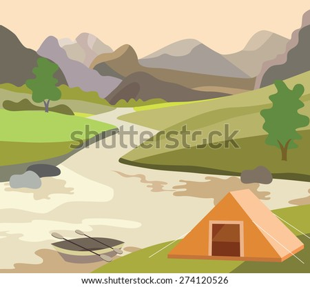 river, meadow and beautiful landscape (vector illustration) - stock vector