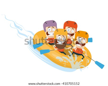 river rafting cartoon clipart vector - stock vector