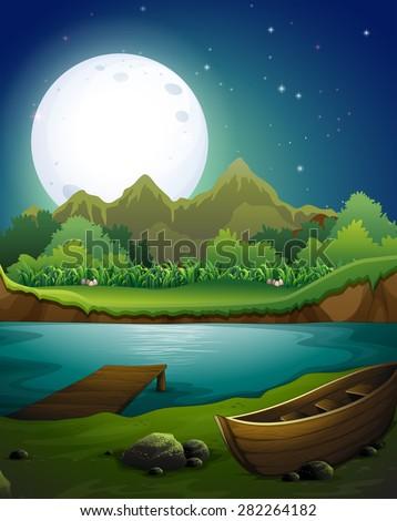 River scene on the full moon night - stock vector