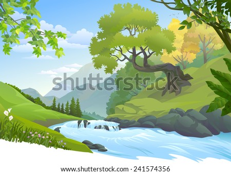 River stream flowing through a lush green forest - stock vector