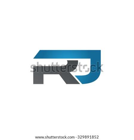 RJ Company Linked Letter Logo Blue