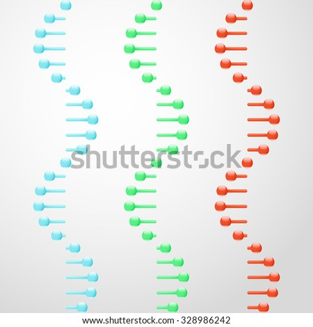 RNA abstract glassy molecules on gray background, 3d scientific vector, eps 10 - stock vector