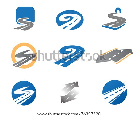 Road. Abstract element set of logo templates - stock vector