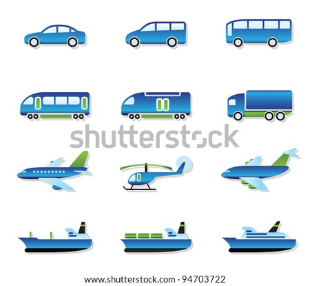 Road, air, rail and water transport - vector illustration - stock vector