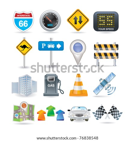 road and car icon set - stock vector
