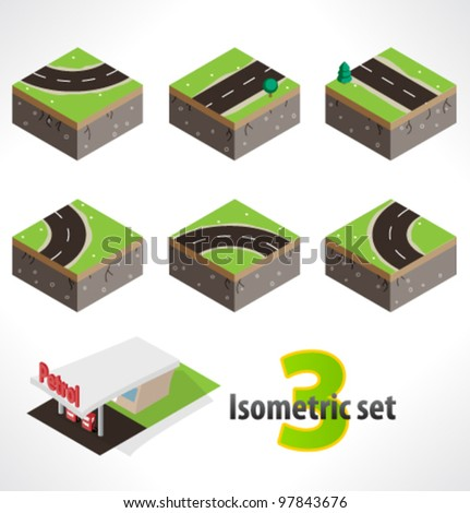 Road and Gas station. Set #3 of Part of the map. Isometric. - stock vector