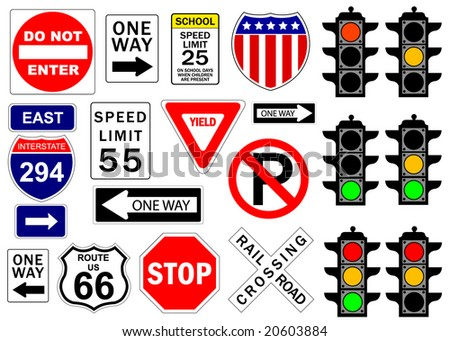 Road and highway signs - stock vector