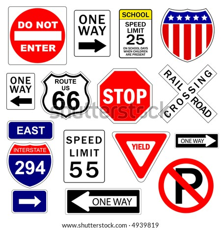 Road and highway signs (vector) - stock vector