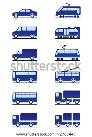 Road and railways transportation icons set - vector illustration - stock vector