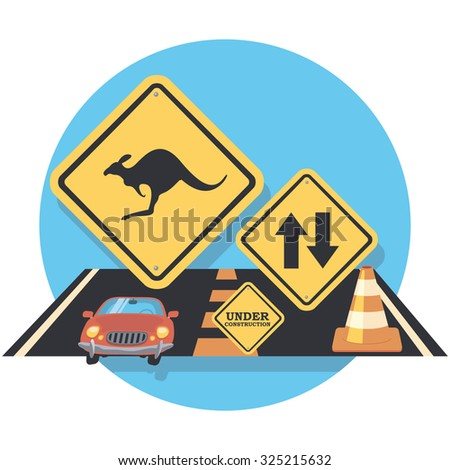 road and signs flat icon in circle - stock vector