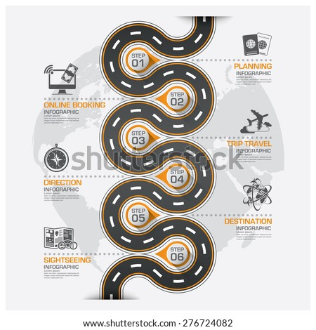 Road And Street Business Travel Curve Route Infographic Diagram Vector Design Template - stock vector