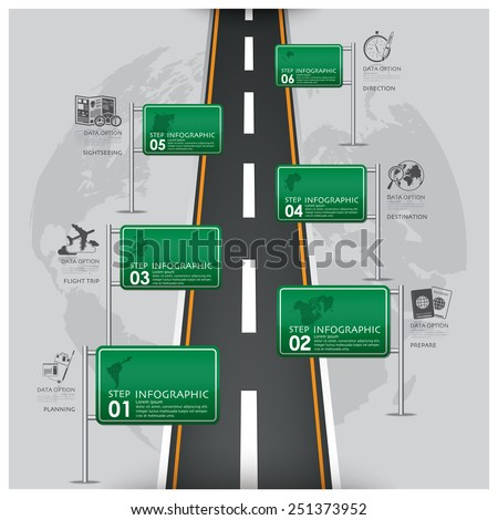 Road And Street Traffic Sign Business Travel Infographic Design Template - stock vector