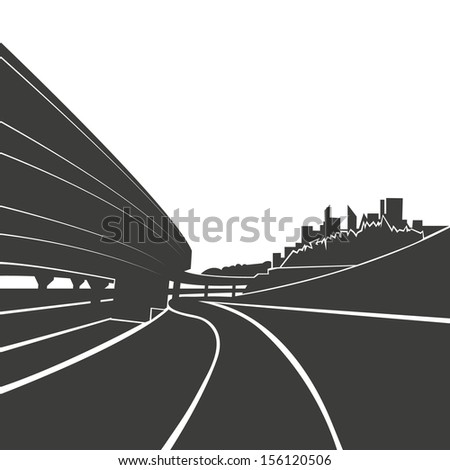 Road background,vector illustration - stock vector
