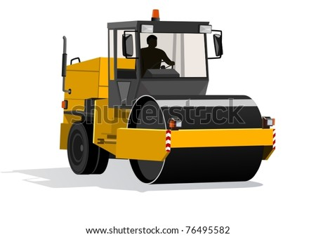 Road-building machinery. A modern machine for asphalt - stock vector