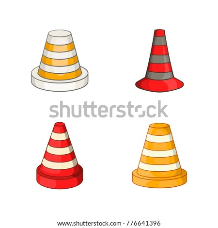 Road cone icon set. Cartoon set of road cone vector icons for web design isolated on white background