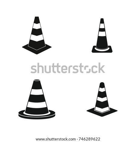 Road cone icon set. Simple set of road cone vector icons for web design isolated on white background
