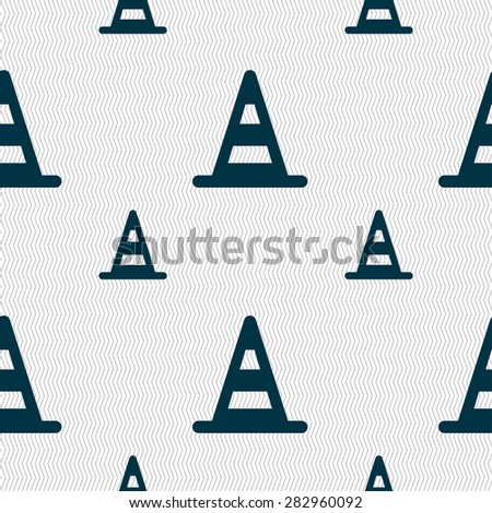 road cone icon sign. Seamless pattern with geometric texture. Vector illustration - stock vector