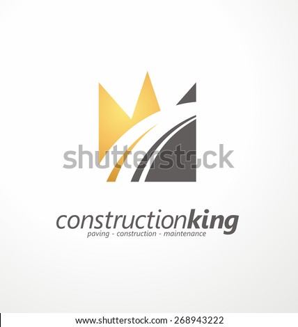 Road construction creative symbol layout. Paving logo design concept. Asphalt repair company sign idea. Road and parking vector icon with highway in negative space. Transportation and traffic theme. - stock vector