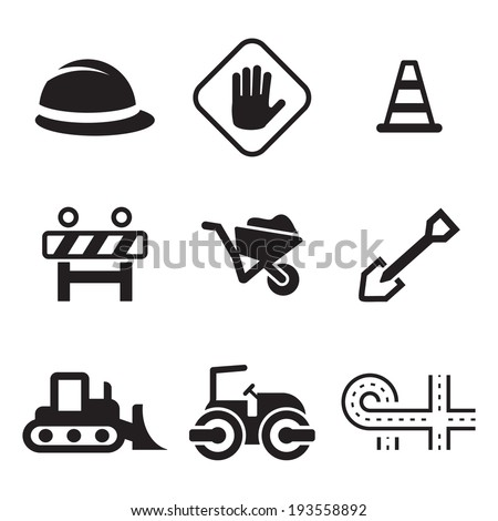 Road Construction Icons - stock vector