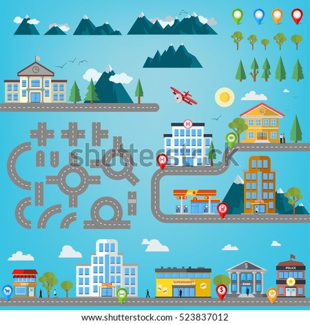 Road construction kit for infographics with buildings like hospital, police station, gas station, shop, market, super market