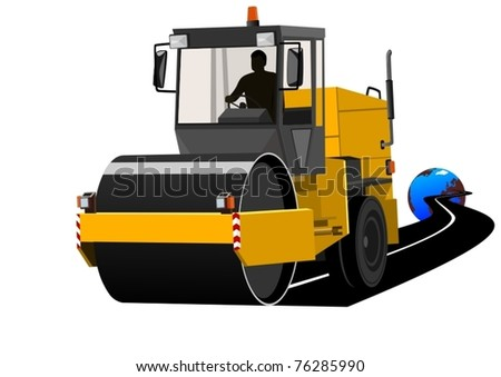 Road construction machinery during construction of the road. - stock vector