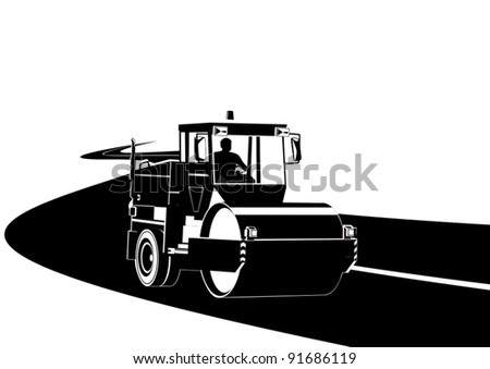 Road construction machinery on the road. Black and white illustration. - stock vector