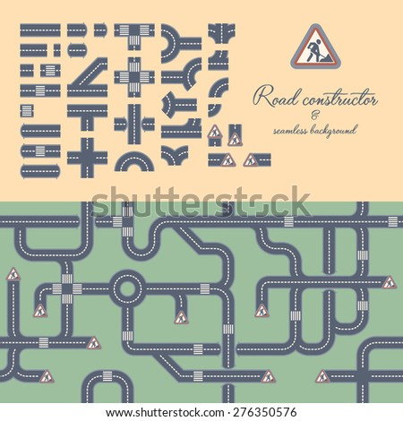 Road constructor & seamless background - stock vector