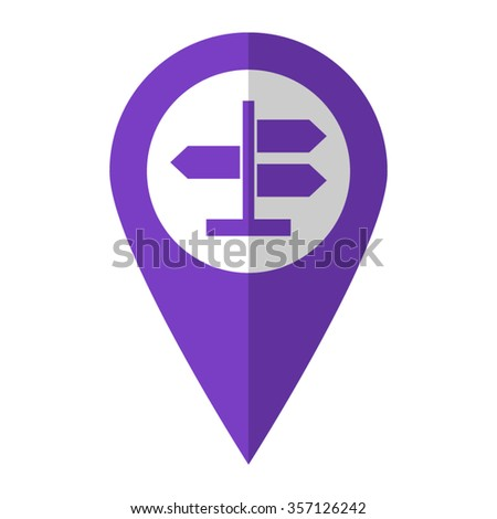 Road direction sign - vector icon;  violet map pointer - stock vector