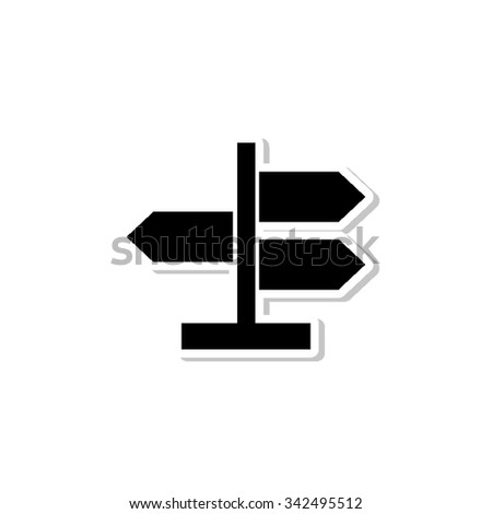 Road direction sign - vector icon with shadow - stock vector