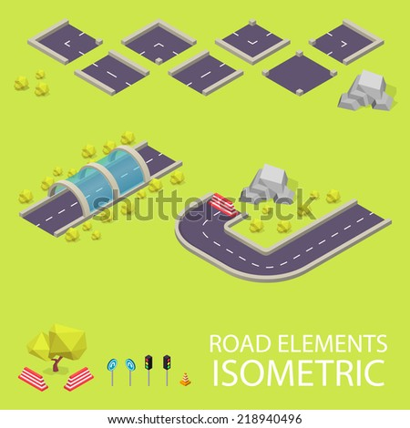 Road elements isometric. Road font. Letters I and J - stock vector