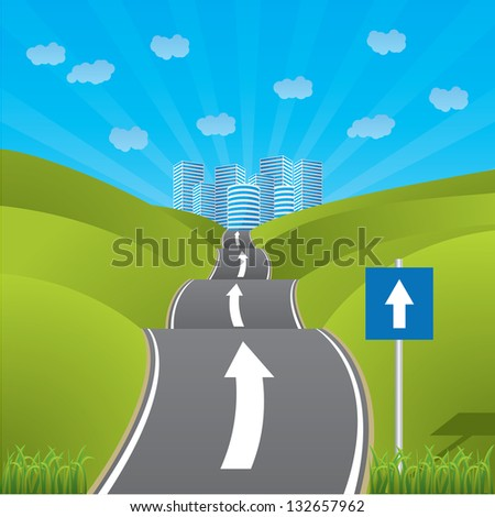 Road heading for city through pastures with one way sign