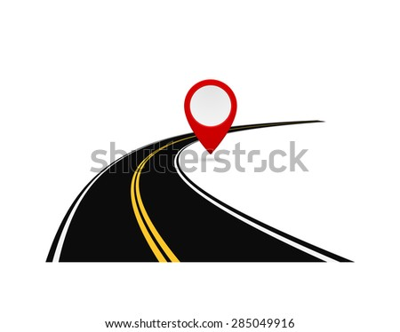 road highway with pin map marker - concept  - stock vector