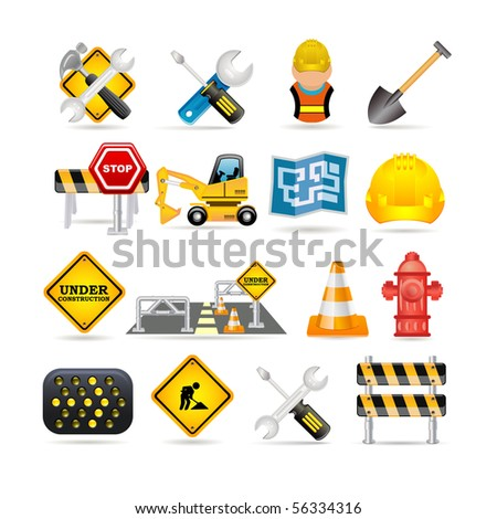 road icon set - stock vector