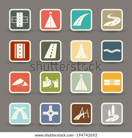 road icons.vector eps10 - stock vector