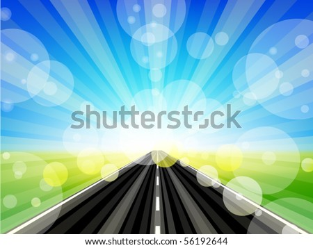 road in sunny day - stock vector