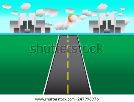 Road in the city vector Illustration - stock vector